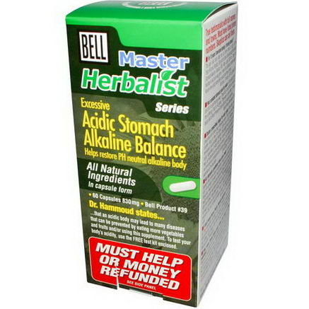 Bell Lifestyle, Master Herbalist Series, Acidic Stomach Alkaline Balance, 830mg, 60 Capsules