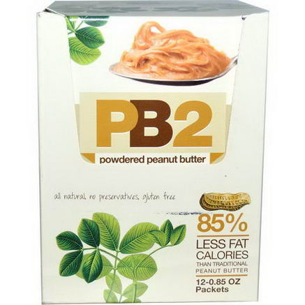 Bell Plantation, PB2, Powdered Peanut Butter, 12 Packets, 0.85oz Each