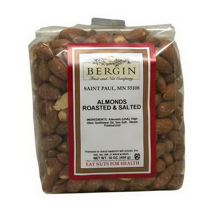 Bergin Fruit and Nut Company, Almonds Roasted & Salted, 16oz (454g)