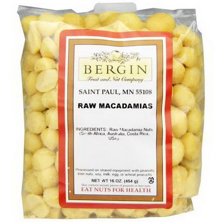 Bergin Fruit and Nut Company, Raw Macadamias, 16oz (454g)