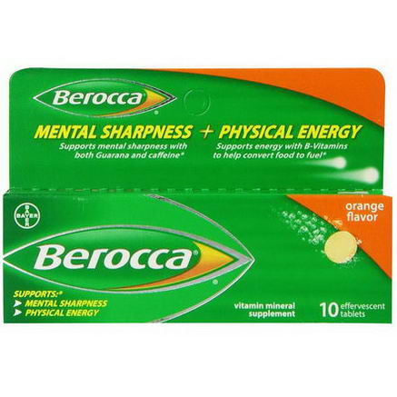 Berocca, Mental Sharpness + Physical Energy, Orange Flavor, 10 Effervescent Tablets