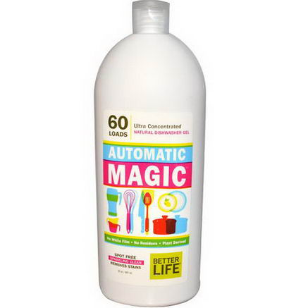 Better Life, Automatic Magic, Natural Dishwasher Gel, Fragrance Free, 60 Loads, 30oz (887 ml)