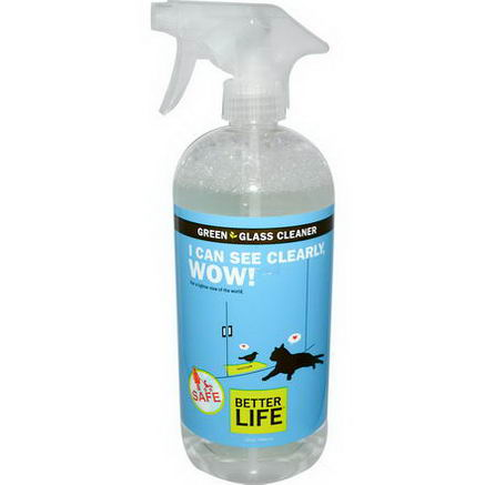 Better Life, I Can See Clearly, Wow, Green Glass Cleaner, 32oz (946 ml)