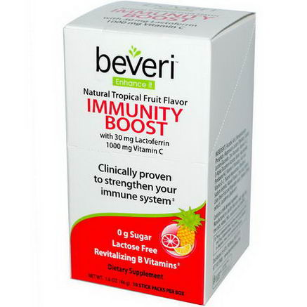 Beveri, Immunity Boost, Natural Tropical Fruit Flavor, 10 Stick Packs, 4.6g Each