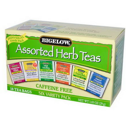 Bigelow, Assorted Herb Teas, Six Variety Pack, Caffeine Free, 18 Tea Bags, 1.03oz (29g)