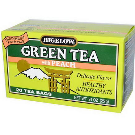 Bigelow, Green Tea with Peach, 20 Tea Bags, 0.91oz (25g)