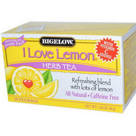 Bigelow, Herb Tea, I Love Lemon, Caffeine Free, 20 Tea Bags, 1.28oz (36g)