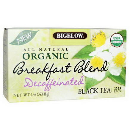 Bigelow, Organic Breakfast Blend, Decaffeinated, Black Tea, 20 Bags, 1.46oz (41g)