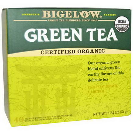 Bigelow, Organic Green Tea, 40 Tea Bags, 1.82oz (51g)