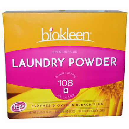 Bio Kleen, Premium Plus Laundry Powder, Enzyme & Oxygen Beach Plus, 5 lbs (2.27 kg)