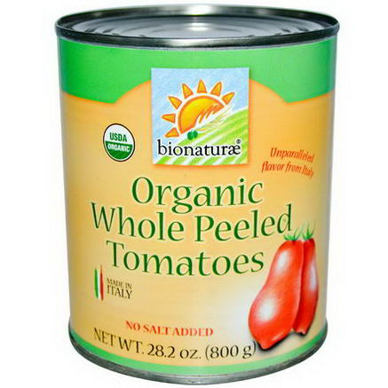 Bionaturae, Organic Whole Peeled Tomatoes, No Salt Added, 28.2oz (800g)