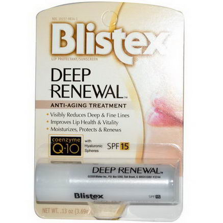 Blistex, Deep Renewal, Anti-Aging Treatment, Lip Protectant/Sunscreen, SPF 15, 13oz (3.69g)
