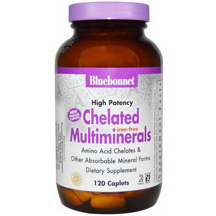 Bluebonnet Nutrition, Chelated Multiminerals, Iron Free, 120 Caplets