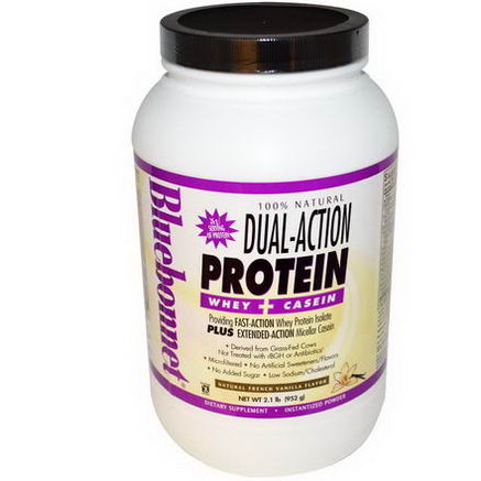 Bluebonnet Nutrition, Dual-Action Protein, Whey + Casein, Natural French Vanilla Flavor, 2.1 lb (952g)