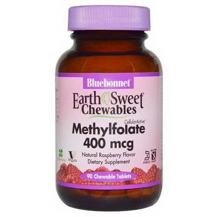 Bluebonnet Nutrition, EarthSweet Chewables CellularActive Methylfolate, Natural Raspberry Flavor, 400 mcg, 90 Chewable Tablets
