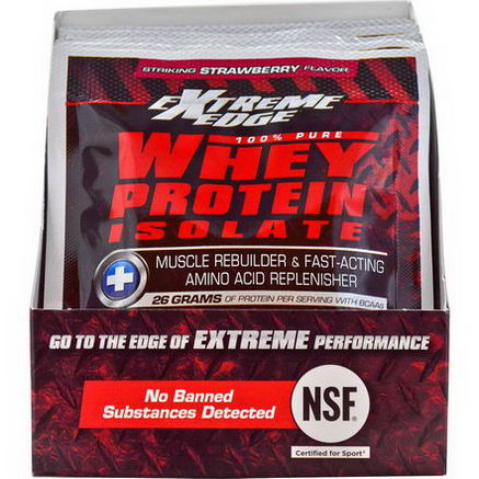 Bluebonnet Nutrition, Extreme Edge Whey Protein Isolate, Striking Strawberry Flavor, 7 Packets, 1.16oz (33g) Each