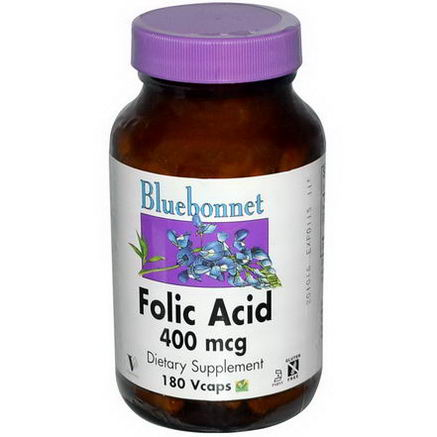 Bluebonnet Nutrition, Folic Acid, 400 mcg, 180 Vcaps