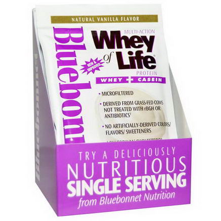 Bluebonnet Nutrition, Multi-Action Whey of Life Protein, Natural Vanilla Flavor, 8 Packets, 1.05oz (30g) Each