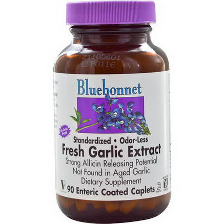 Bluebonnet Nutrition, Standardized Fresh Garlic Extract, Odor-Less, 90 Enteric Coated Caplets
