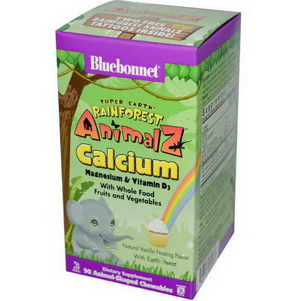 Bluebonnet Nutrition, Super Earth, Rainforest Animalz, Calcium, Natural Vanilla Frosting Flavor, 90 Chewables