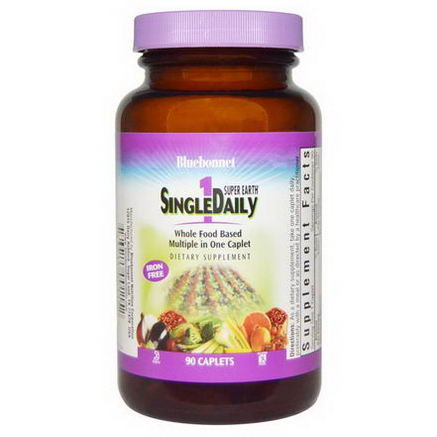 Bluebonnet Nutrition, Super Earth SingleDaily, Iron Free, 90 Caplets