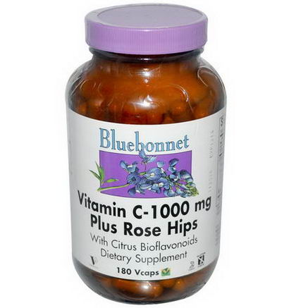 Bluebonnet Nutrition, Vitamin C-1000mg Plus Rose Hips, 180 Vcaps