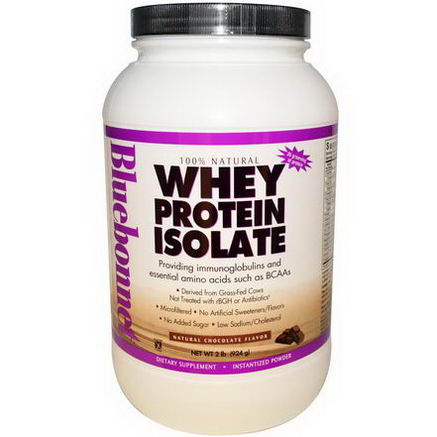 Bluebonnet Nutrition, Whey Protein Isolate, Natural Chocolate Flavor, 2 lbs (924g)