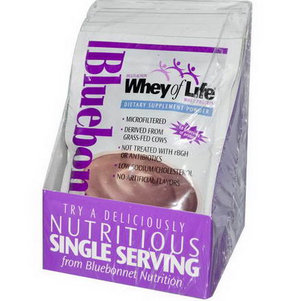 Bluebonnet Nutrition, Whey of Life, Whey Protein, Natural Chocolate Blitz Flavor, 8 Packets, 1.2oz (36g) Each