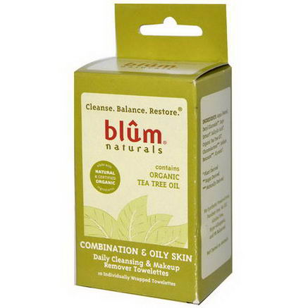 Blum Naturals, Daily Cleansing & Makeup Remover Towelettes, Combination & Oily Skin, Tea Tree, 10 Towelettes