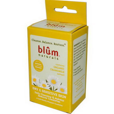 Blum Naturals, Daily Cleansing & Makeup Remover Towelettes, Dry & Sensitive Skin, Chamomile, 10 Towelettes