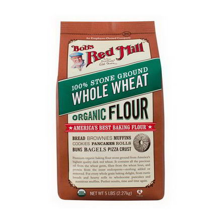 Bob's Red Mill, Organic 100% Stone Ground Whole Wheat Flour, 5 lbs (2.27 kg)