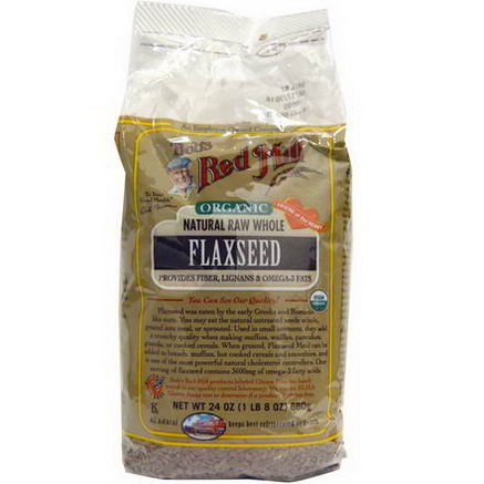 Bob's Red Mill, Organic Natural Raw Whole Flaxseeds, 24oz (680g)