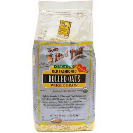 Bob's Red Mill, Organic Old Fashioned Rolled Oats, Whole Grain, 16oz (453g)