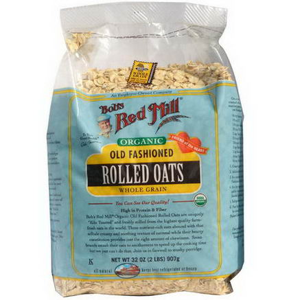 Bob's Red Mill, Organic Old Fashioned Rolled Oats, Whole Grain, 32oz (2 lbs) 907g
