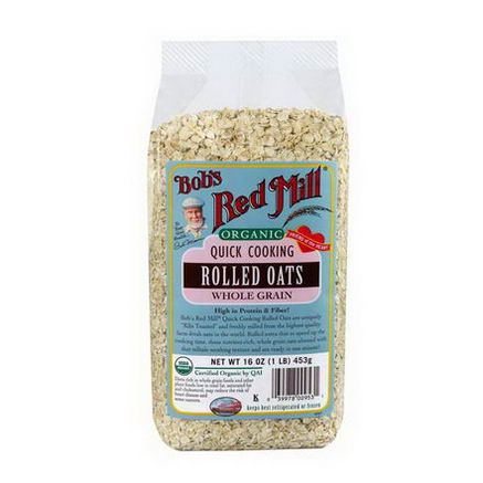 Bob's Red Mill, Organic, Quick Cooking Rolled Oats, Whole Grain, 16oz (453g)