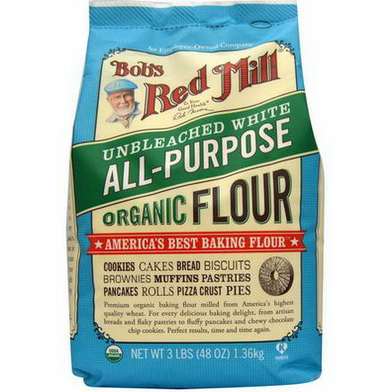 Bob's Red Mill, Organic Unbleached White All-Purpose Flour, 48oz (1.35 kg)