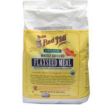 Bob's Red Mill, Organic Whole Ground Flaxseed Meal, Gluten Free, 32oz (907g)