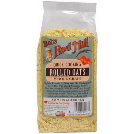 Bob's Red Mill, Quick Cooking Rolled Oats, Whole Grain, 16oz (453g)