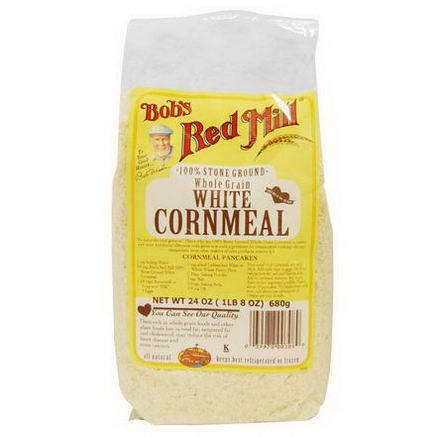 Bob's Red Mill, White Cornmeal, Whole Grain, 24oz (680g)