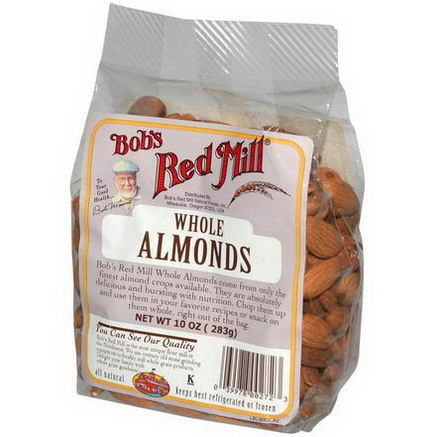 Bob's Red Mill, Whole Almonds, 10oz (283g)