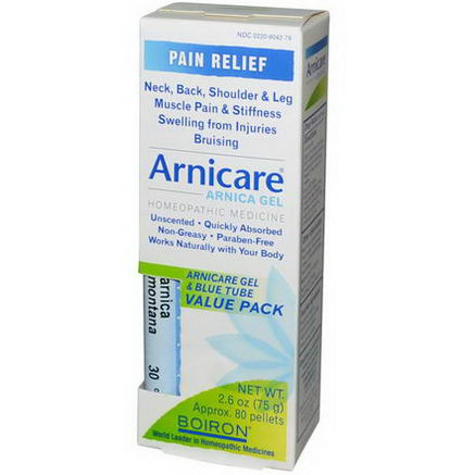 Boiron, Arnicare Gel & Blue Tube Value Pack, 2.6oz (75g) Tube + 80 30C Pellets