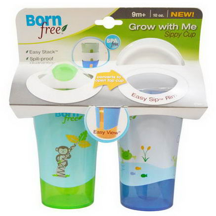 Born Free, Grow With Me, Sippy Cup, 2 Cups, 10oz Each