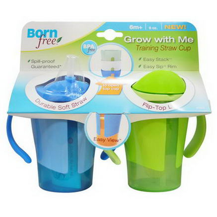 Born Free, Grow With Me Training Straw Cup, Blue and Green, 2 Pack, 6oz Each