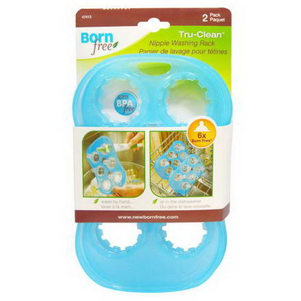 Born Free, Tru-Clean Nipple Washing Rack, 2 Pack