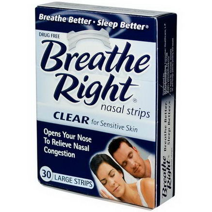Breathe Right, Nasal Strips, Clear for Sensitive Skin, 30 Large Strips