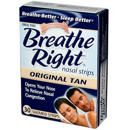 Breathe Right, Nasal Strips, Original Tan, Sm/Med, 30 Strips