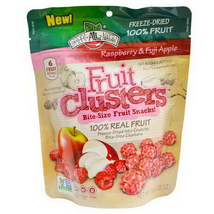 Brothers-All-Natural, Fruit Clusters, Bite-Size Fruit Snacks, Raspberry & Fuji Apple, 1.25oz (35g)