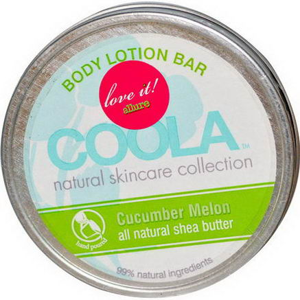 COOLA Organic Suncare Collection, Body Lotion Bar, Cucumber Melon, 2.75oz