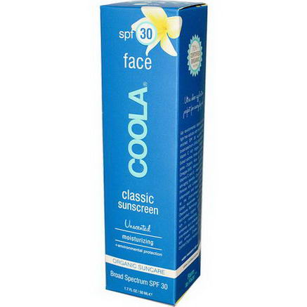 COOLA Organic Suncare Collection, Face, Classic Sunscreen, SPF 30, Unscented, 1.7 fl oz (50 ml)
