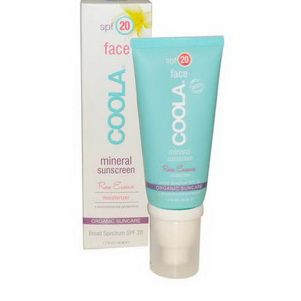 COOLA Organic Suncare Collection, Face, Mineral Sunscreen, SPF 20, Rose Essence, 1.7 fl oz (50 ml)